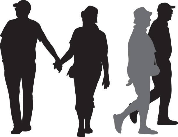 シニアカップルシルエット - 老夫婦点のイラスト素材/クリップアート素材/マンガ素材/アイコン素材