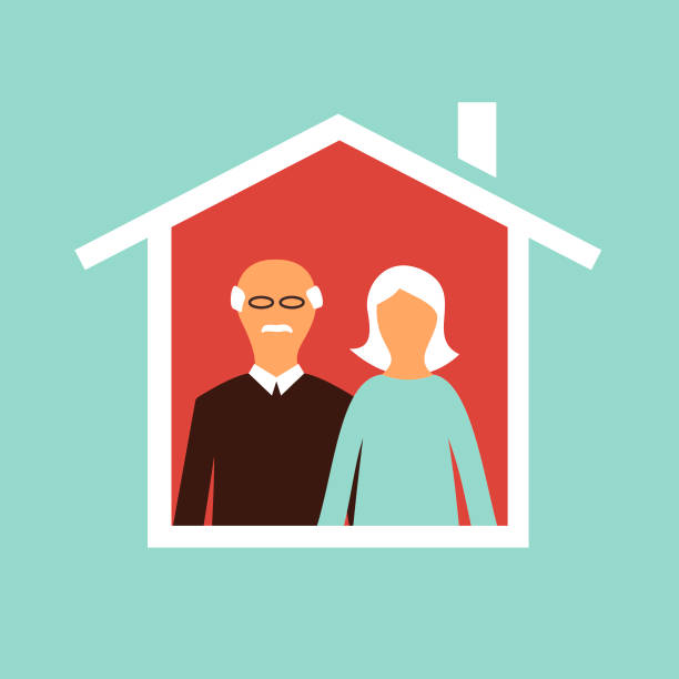 Senior couple staying at home concept as protection from Covid-19 vector art illustration