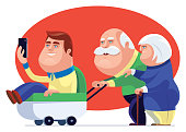 vector illustration of senior couple strolling with son