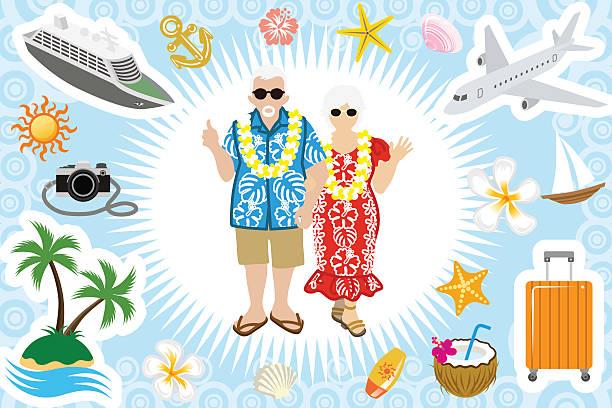 bildbanksillustrationer, clip art samt tecknat material och ikoner med senior couple summer vacation set - aktiva pensionärer utflykt