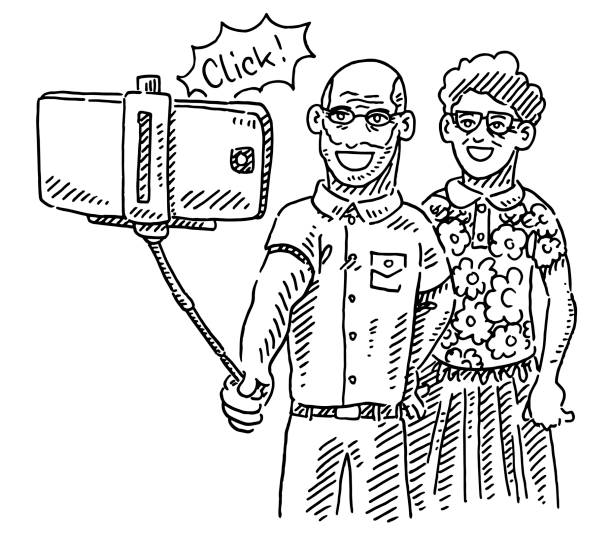 senior couple taking a selfie drawing - old man illustration pictures stock illustrations, clip art, cartoons, & icons