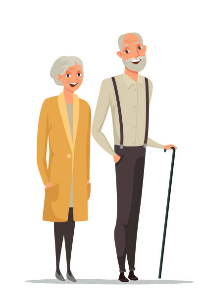 senior couple together color vector illustration - old man portrait drawing stock illustrations, clip art, cartoons, & icons