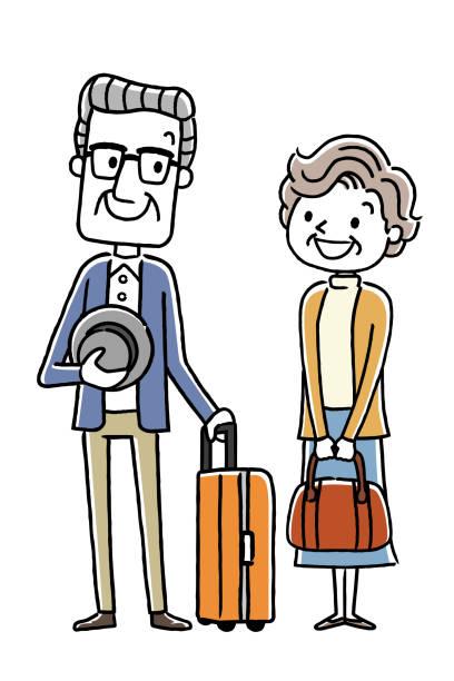 年配のカップル: 旅行 - 夫婦点のイラスト素材/クリップアート素材/マンガ素材/アイコン素材