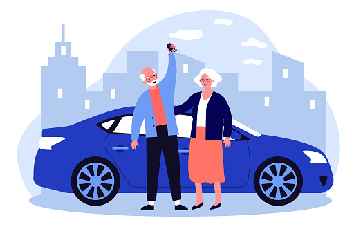 Senior couple travelling by car