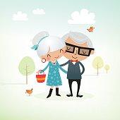 Happy senior couple. EPS 10 file, some transparencies.