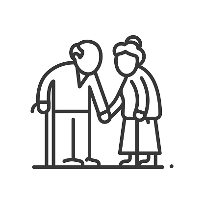 Senior couple - vector line design single isolated icon on white background. High quality black pictogram. Image of retired man and woman with walking cane. Elderly people care, aging process concept