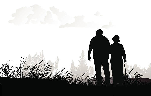 senior couple walking in a field - old man in black stock illustrations, clip art, cartoons, & icons