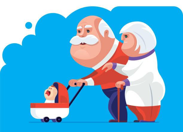 illustrazioni stock, clip art, cartoni animati e icone di tendenza di senior couple with crying baby - nonna e nipote camminare