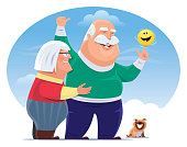 vector illustration of cheerful couple man with happy emoji with dog