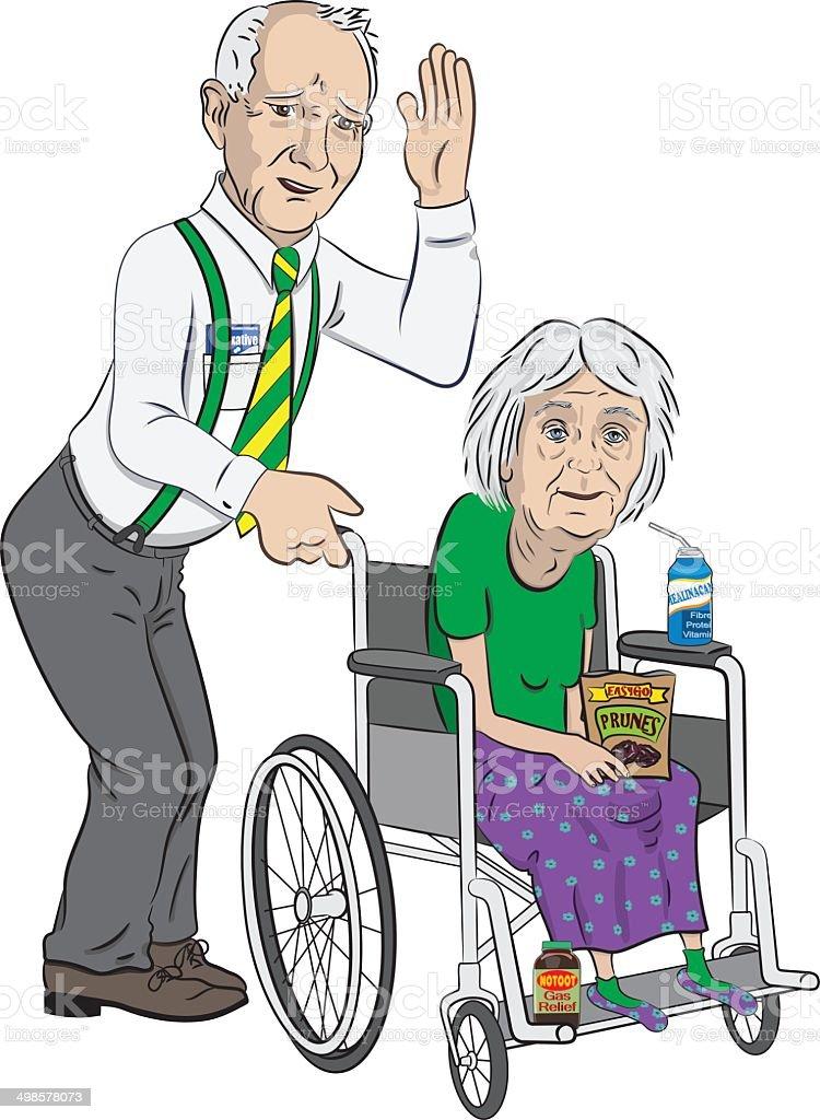 Pareja Senior con mujer en silla de ruedas - ilustración de arte vectorial