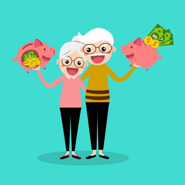 senior couple with piggy bank. saving money for retirement concept. vector illustration. - old man smile cartoon stock illustrations, clip art, cartoons, & icons