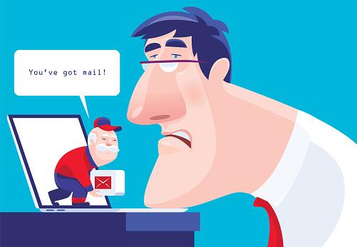 senior courier delivering message to businessman via laptop