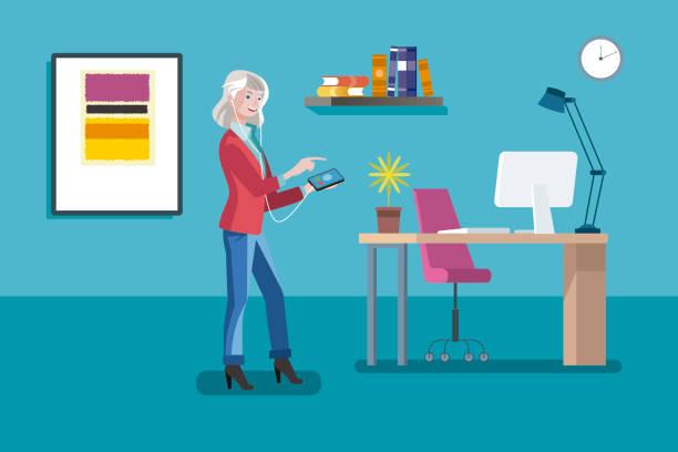 ilustrações de stock, clip art, desenhos animados e ícones de senior entrepreneur woman - senior business woman tablet