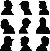 Vector silhouettes of nine senior men and women profiles.