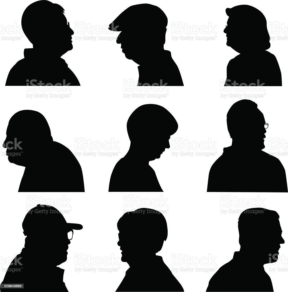Senior Face Profiles vector art illustration