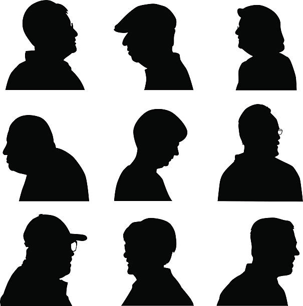 senior face profiles - old man face silhouettes stock illustrations, clip art, cartoons, & icons
