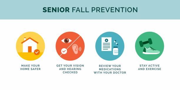 Senior fall prevention tips icons vector art illustration