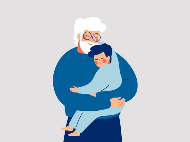 ilustraciones, imágenes clip art, dibujos animados e iconos de stock de el padre mayor abraza a su hijo con cuidado y amor. el feliz abuelo abraza a su nieto. concepto del día de los padres feliz con papá y niño pequeño - nieto