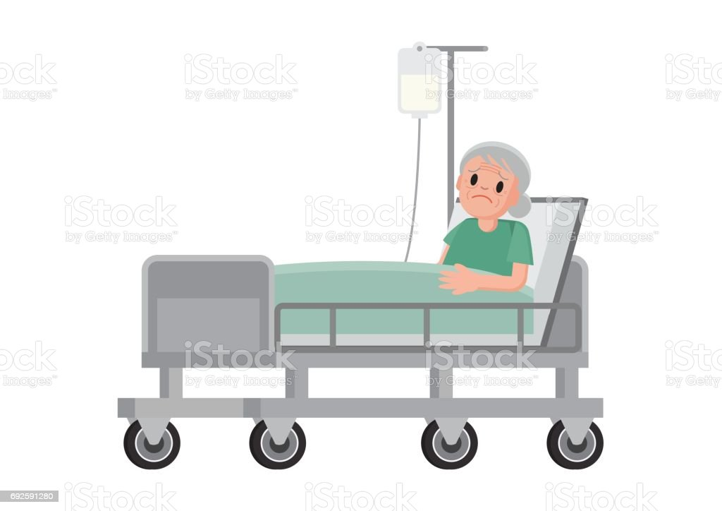 Woman In Hospital Bed Chemotherapy