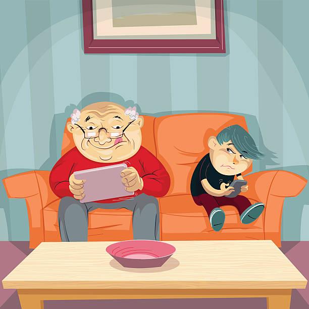 senior gamer - old man funny cartoon stock illustrations, clip art, cartoons, & icons
