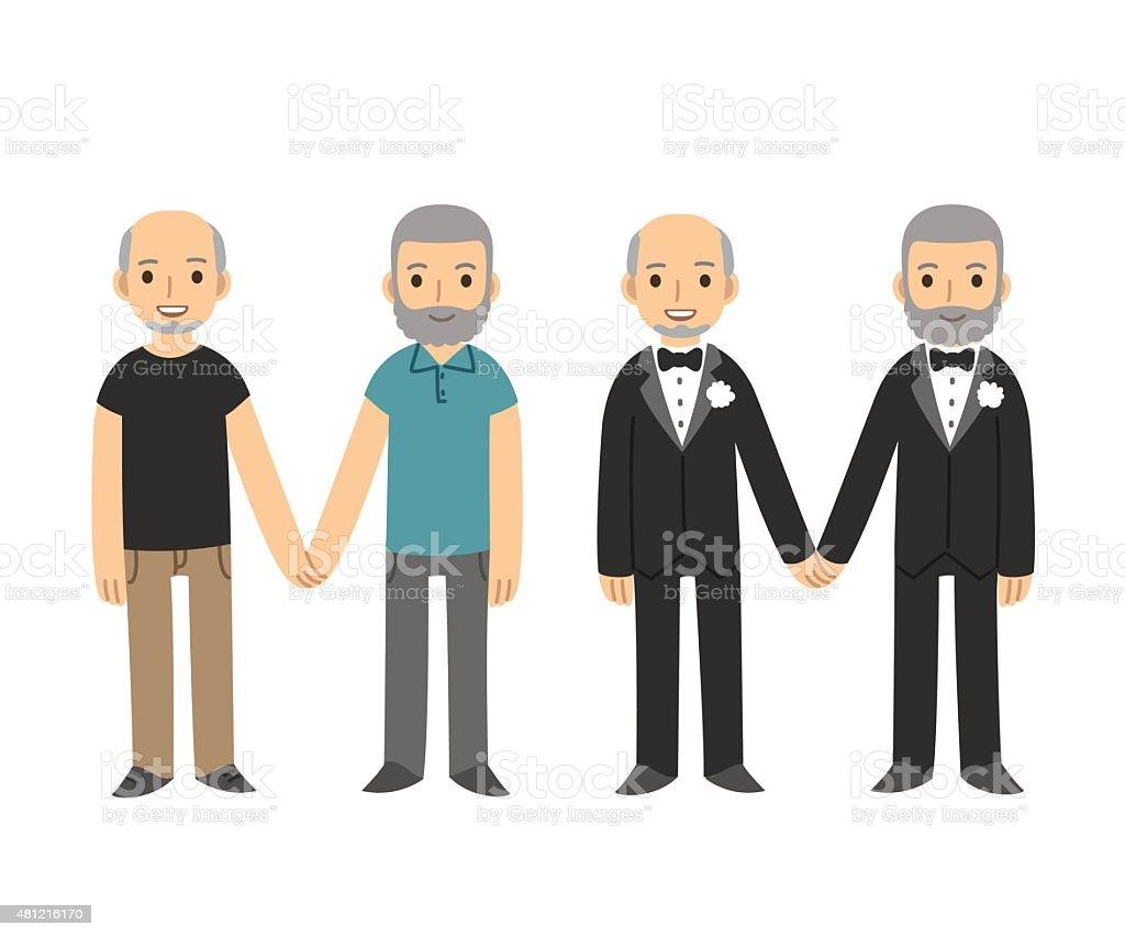 Senior pareja gay - ilustración de arte vectorial