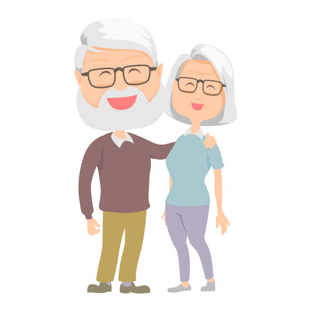 senior happy vector. family theme. - old man hair stock illustrations, clip art, cartoons, & icons