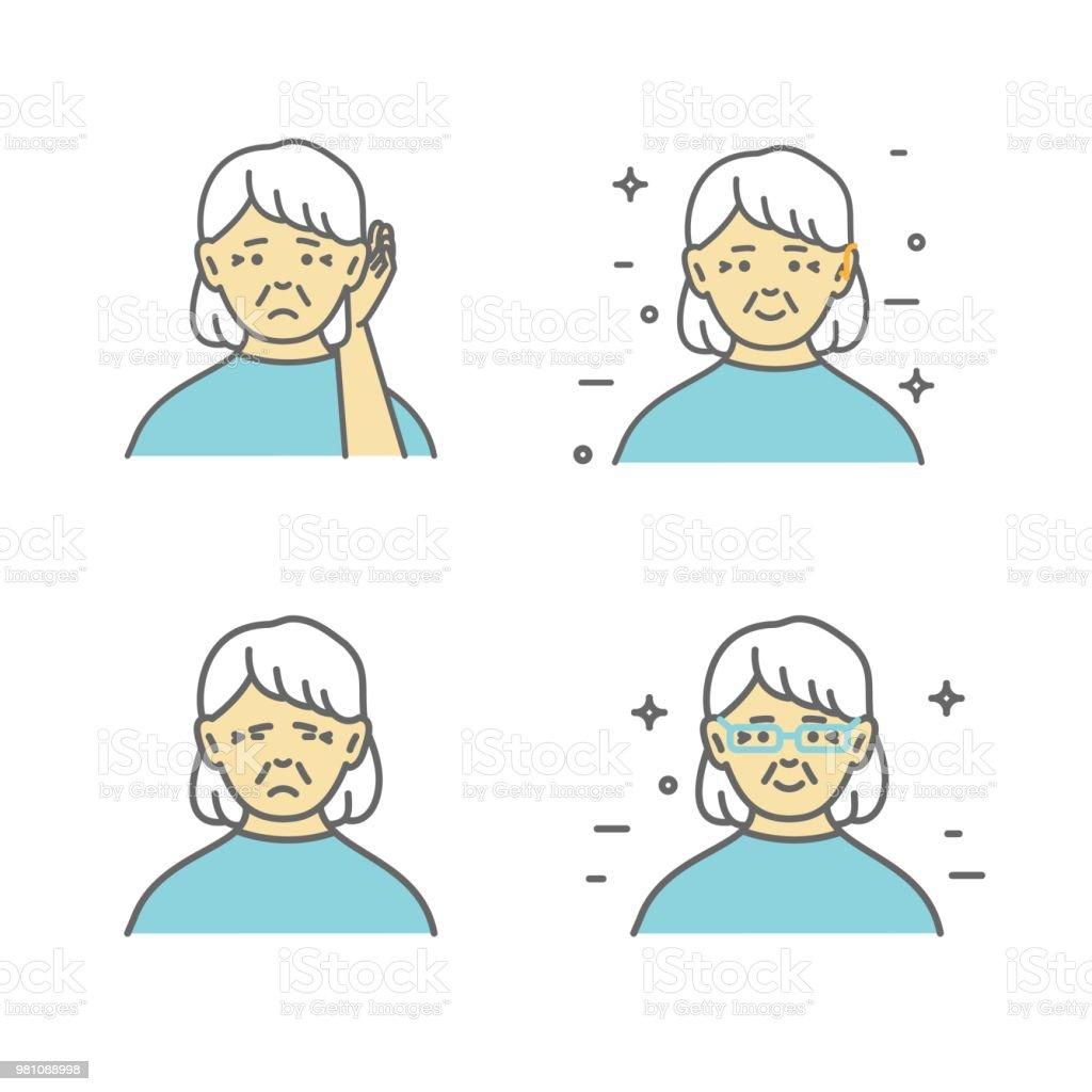 Senior Schwer Gehör Frau Sie Hand An Ihr Ohr Halten Vektorgrafiken ...