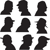Vector illustration of nine senior profile head silhouettes.