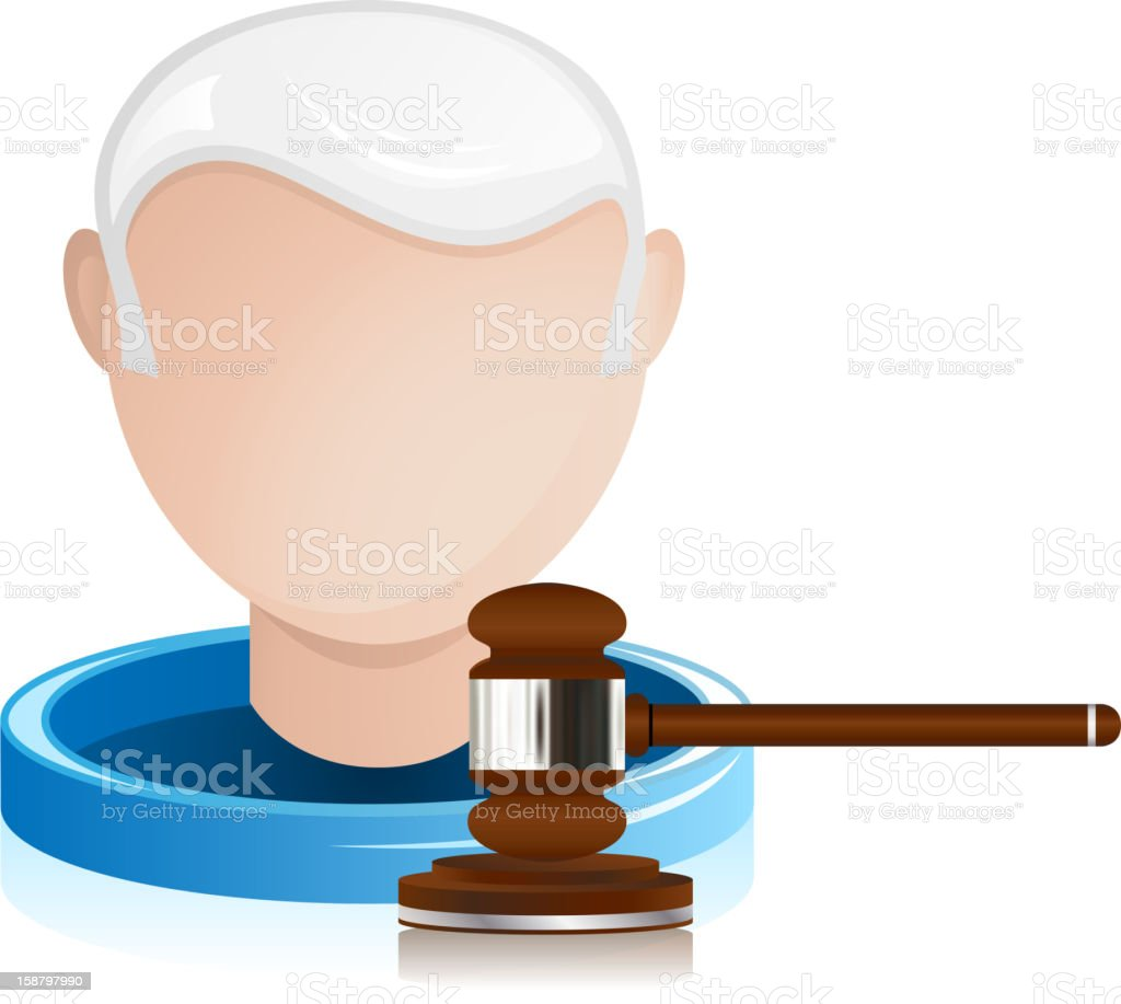 Senior Judge with Justice Gavel royalty-free stock vector art