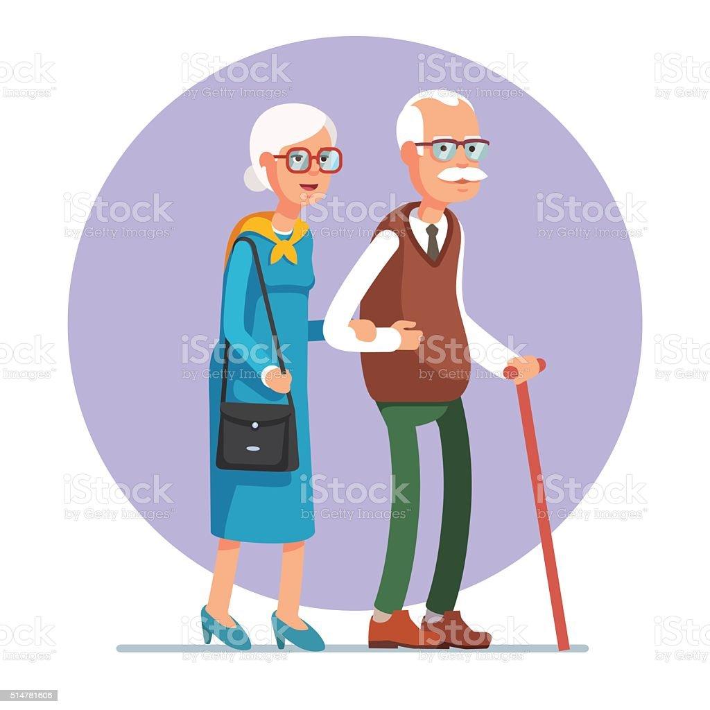 Senior lady and gentleman walking together vector art illustration