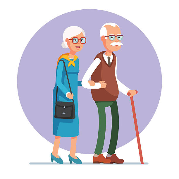 senior lady and gentleman walking together - old man smiling silhouettes stock illustrations, clip art, cartoons, & icons