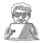 Senior Lady Holding Tablet Computer Drawing