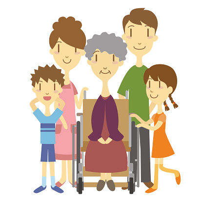 Senior lady in wheelchair and family