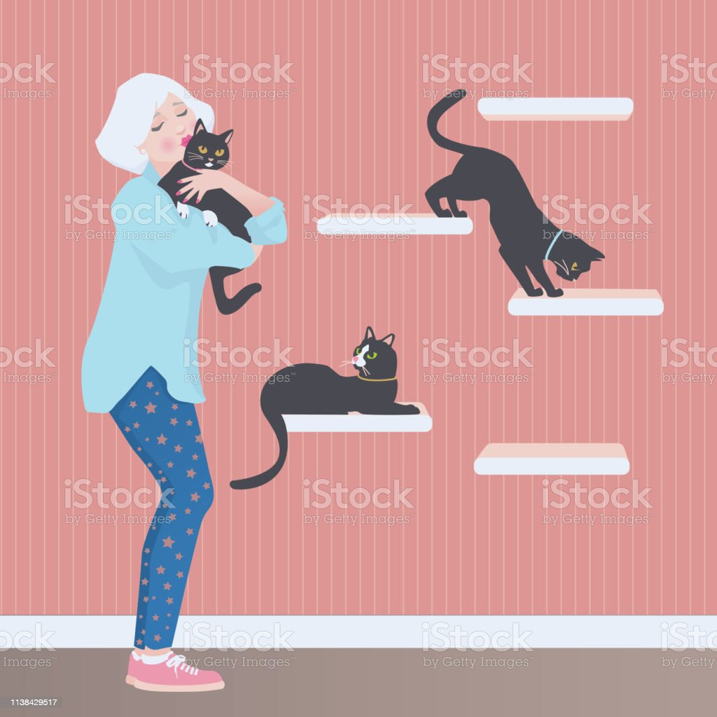Vector illustration of a senior woman holding and kissing one of her...