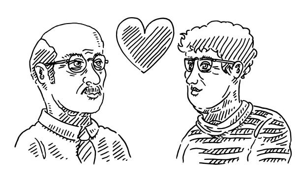 senior love couple drawing - old man portrait drawing stock illustrations, clip art, cartoons, & icons
