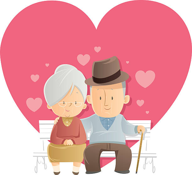 bildbanksillustrationer, clip art samt tecknat material och ikoner med senior love - middle aged man dating