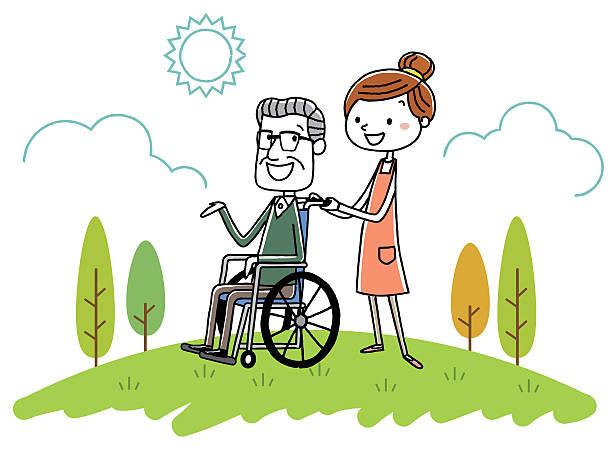 senior male and female nursing staff of wheelchair - 介護点のイラスト素材/クリップアート素材/マンガ素材/アイコン素材