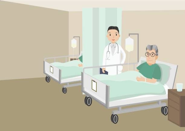 senior male patient resting in hospital. - old man sick hospital bed silhouette stock illustrations, clip art, cartoons, & icons