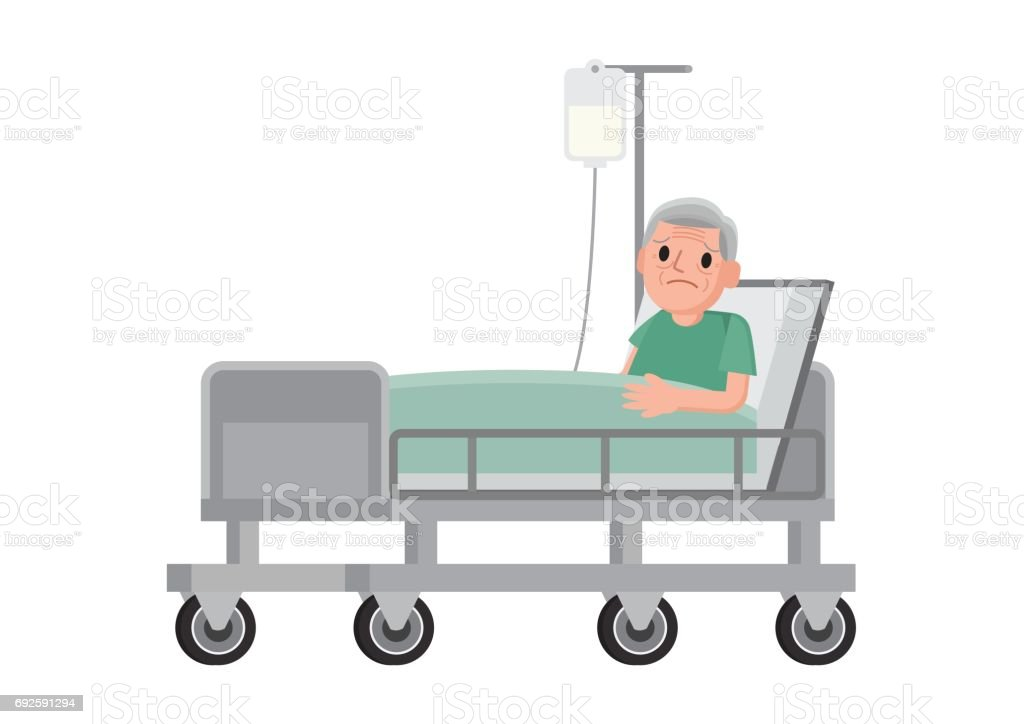 Senior male patient resting in hospital. vector art illustration