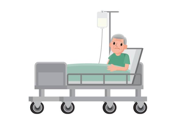 Senior male patient resting in hospital. Senior male patient resting in hospital. Old man lying in a hospital bed. Vector Illustration. one senior man only illustrations stock illustrations