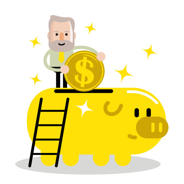 senior man and retirement plan, elderly businessman putting a large dollar sign coin currency into a piggy bank - old man standing drawings stock illustrations, clip art, cartoons, & icons