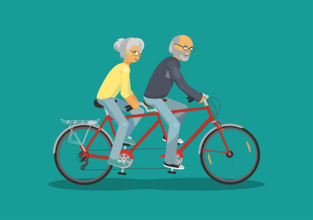 senior man and senior woman together riding tandem bike - old man on bike stock illustrations, clip art, cartoons, & icons