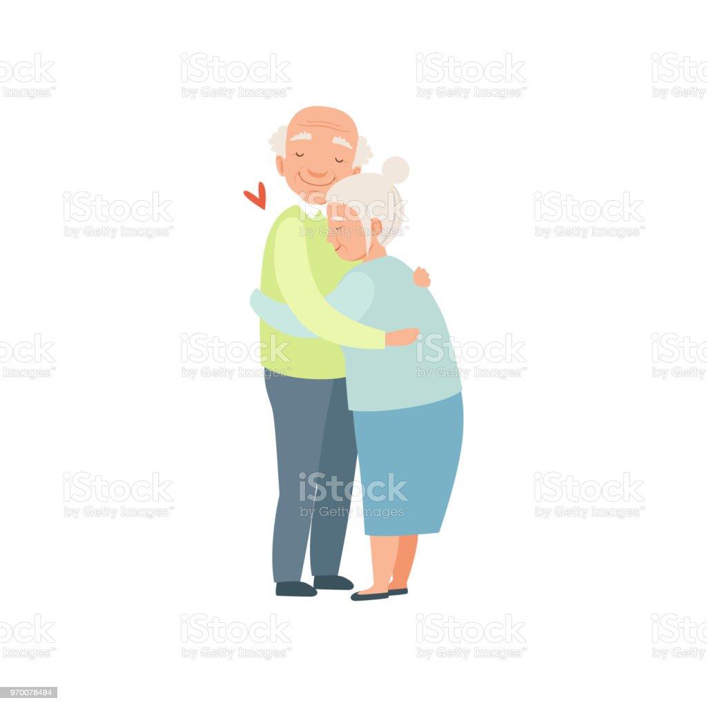 白い背景の上の年配の男性と女性の恋の入札は高齢者のカップルと抱き合っ