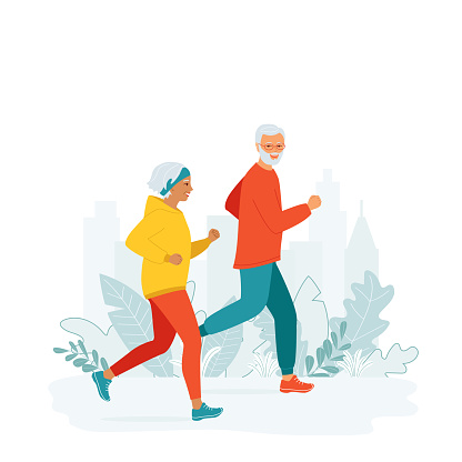 Senior man and woman in sporty clothes runs. Mature family active healthy lifestyle concept, leisure activity on retirement, city marathon, competition. Morning, evening jogging. Vector illustration
