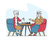Senior Man and Woman Playing Chess in Nursing Home. Elderly Couple Characters, Pensioners Spending Time at Intellectual Game, Retired People Hobby, Leisure and Sparetime. Linear Vector Illustration