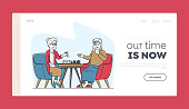 Senior Man and Woman Playing Chess Landing Page Template. Elderly Characters, Pensioners Spending Time at Intellectual Game, Retired People Hobby, Leisure and Sparetime. Linear Vector Illustration