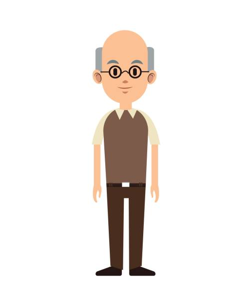 senior man bald with glasses and vest - old man glasses silhouettes stock illustrations, clip art, cartoons, & icons
