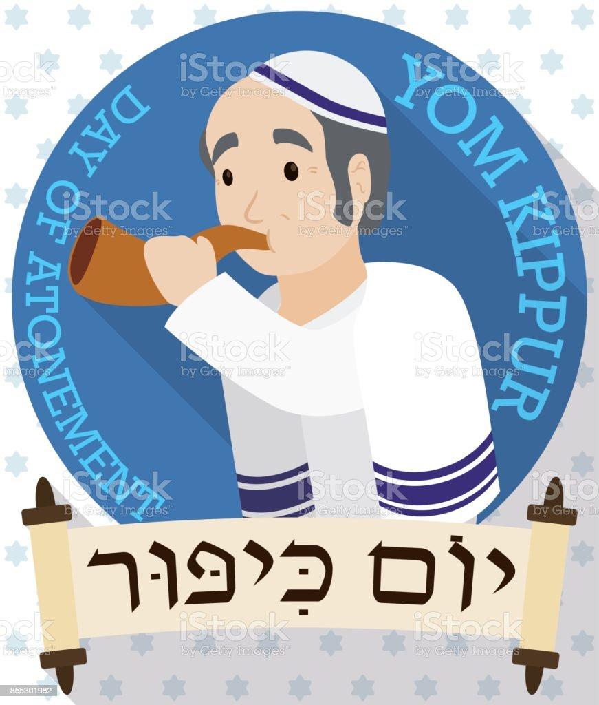 Senior Man Blowing a Shofar behind Scrolls for Yom Kippur vector art illustration