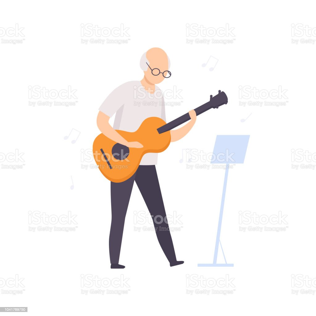 Senior man character playing guitar, elderly people leading an active lifestyle social concept vector Illustration on a white background vector art illustration
