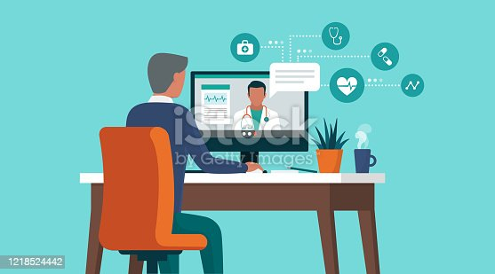 istock Senior man consulting a doctor online using his computer 1218524442